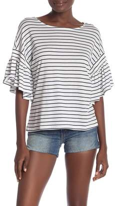 14th & Union Striped Ruffle Sleeve Tee (Regular & Petite)