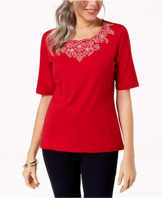 Karen Scott Petite Embroidered Top, Created for Macy's