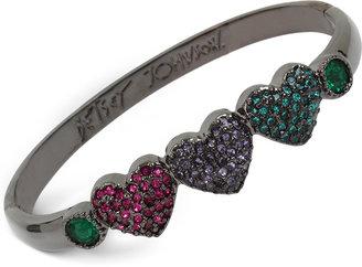 Betsey Johnson Hematite-Tone Pavé Heart Bangle Bracelet $38 thestylecure.com