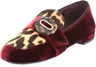 Prada Velvet Leopard-Print Loafer, Dark Red