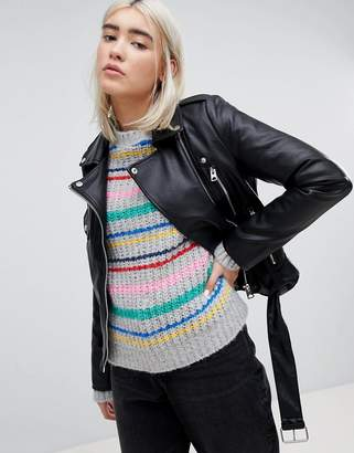 Pull&Bear Leather Look Biker Jacket
