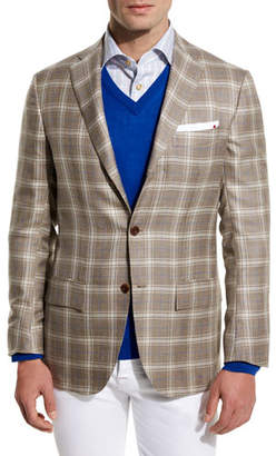 Kiton Plaid Cashmere-Silk Three-Button Sport Coat, Tan/Creme