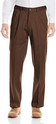Haggar Men's Premium No-Iron Classic-Fit Expandable-Waist Pleat-Front Pant