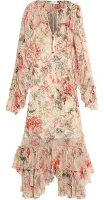 Zimmermann Mercer Ruffled Floral-Print Silk-Georgette Midi Dress