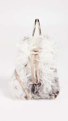 MAISON BOINET Small Shearling Bucket with Metal Rings
