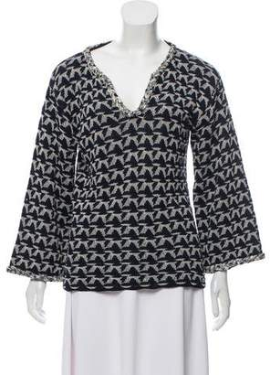 Chanel Patterned V-Neck Sweater
