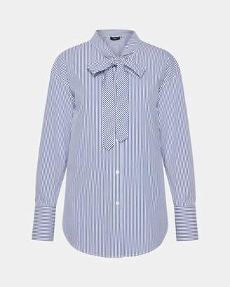 Theory Stripe Weekender Tie-Neck Shirt