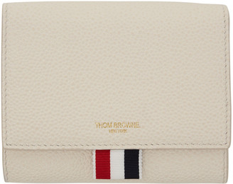 Thom Browne White Short Clasp Wallet $595 thestylecure.com