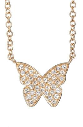 Ef Collection Diamond Butterfly Pendant Necklace