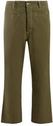 Loewe Logo Patch Cotton Trousers - Womens - Green
