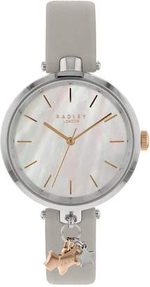 Radley RY2653 St Duncan's Mother of Pearl Dial with Rose Gold Dog Charm and Silver Leather Strap Ladies Watch