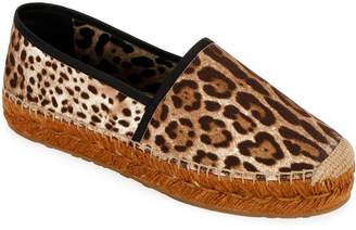 Dolce & Gabbana Leopard-Print Flat Espadrilles