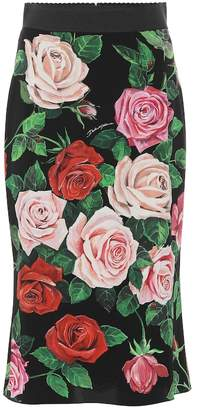 Dolce & Gabbana Floral stretch silk skirt