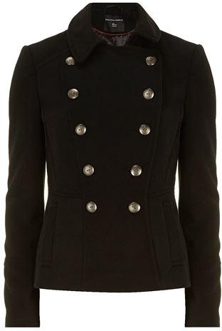 Dorothy Perkins Black short military coat