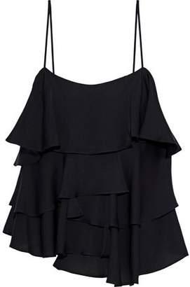 Milly Emma Ruffled Stretch-Silk Camisole