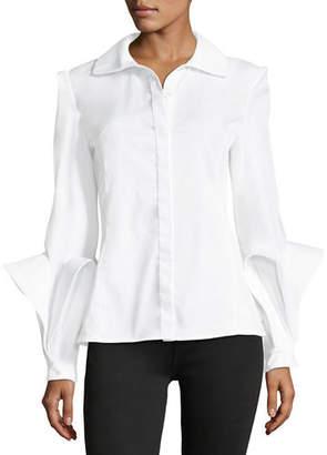 Zac Posen Spread-Collar Button-Front Cotton Blouse