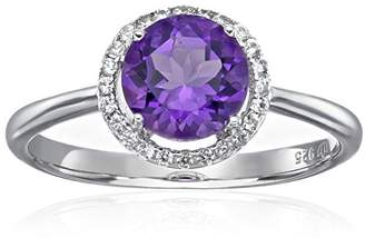 Sterling Silver African Amethyst And Natural White Zircon Classic Round Princess Di Halo Engagement Ring