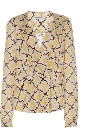 Alexandre Blanc Patterned Silk Wrap Blouse