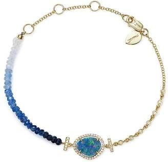 Meira T 14K Yellow Gold Opal & Blue Sapphire Bead Bracelet