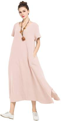 Anysize Soft Loose Maxi Linen&cotton Dress Spring Summer Plus Size Dress F126A
