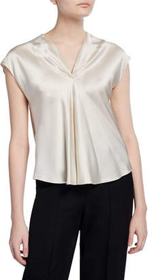 Vince V-Neck Sleeveless Drape Blouse