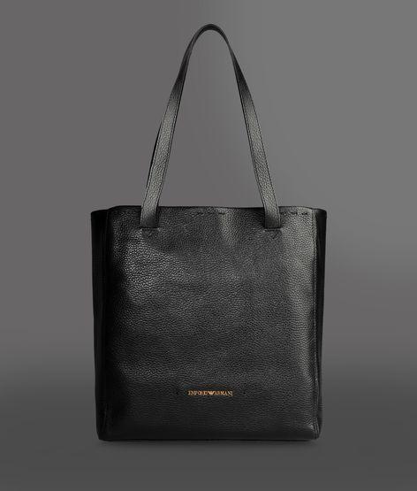 Emporio Armani Leather Shopping Bag With Logo