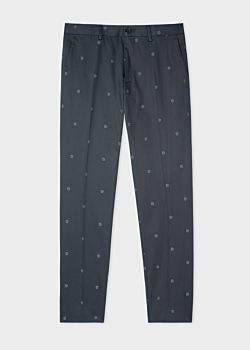 Paul Smith Men's Slim-Fit Navy Floral-Jacquard Cotton-Twill Stretch Chinos