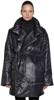 Norma Kamali Metallic Puffer Kimono Coat W/ Belt