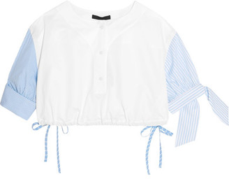 Alexander Wang - Cropped Striped Cotton-poplin Top - White $495 thestylecure.com