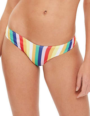 Topshop Bonded Rainbow Stripe High Leg Bikini Bottoms