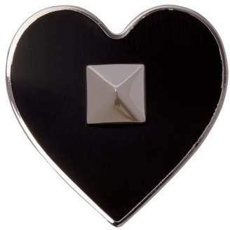 Valentino Rockstud Embellished Heart Brooch - Mens - Black