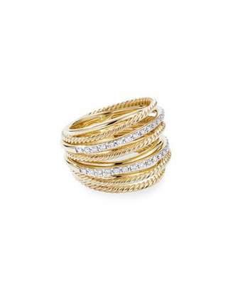David Yurman DY Crossover Wide 18k Gold Ring w/ Diamonds, Size 9