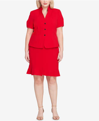 Tahari ASL Plus Size Three-Button Flounce Skirt Suit