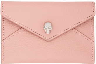 Alexander McQueen Pink Skull Envelope Card Holder $195 thestylecure.com