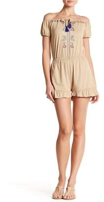 Poof Knit Embroidered Ruffle Hem Romper