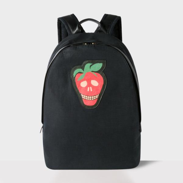 Paul SmithMen's Black Canvas 'Strawberry Skull' Backpack