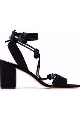 Loeffler Randall Bea Lace-Up Pompom-Embellished Suede Sandals