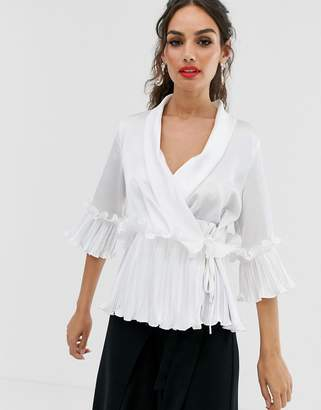 Outrageous Fortune wrap front top with ruffle pleat detail in white
