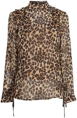 Next Womens Karen Millen Leopard Ruffled Blouse