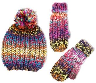 ABG Accessories Chunky Knit Winter Beanie Hat and Matching Cuffed Mitten Set, Big Girls 7-14