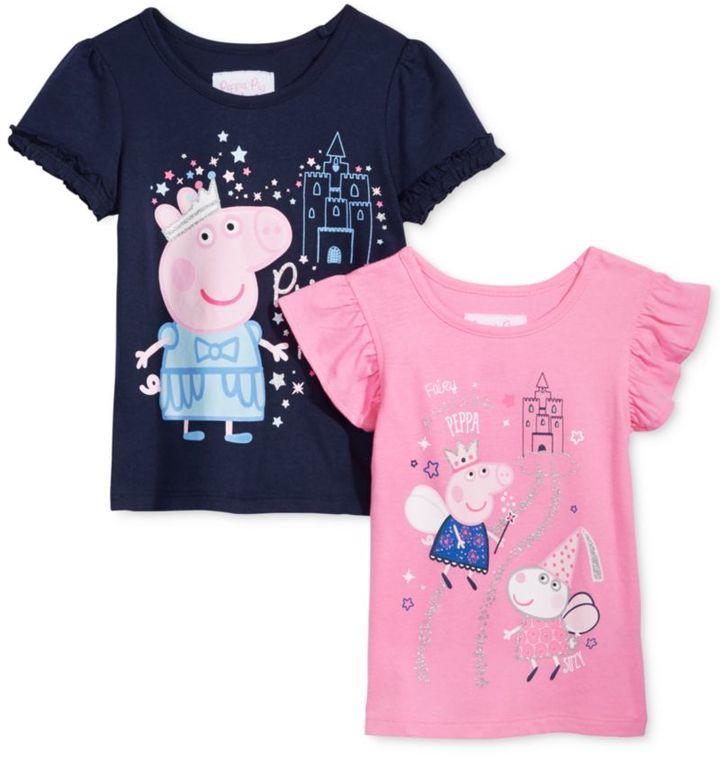 Nickelodeon Nickelodeon's Peppa Pig 2-Pc. Graphic T-Shirt Set, Little Girls (4-6X)