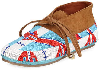 Figue Wolf Beaded Flat Moccasin