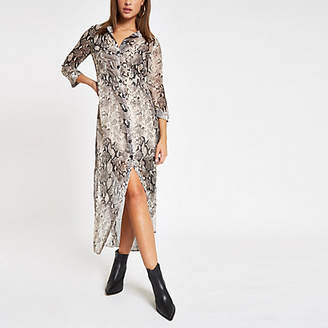 River Island Grey snake print maxi shirt dress
