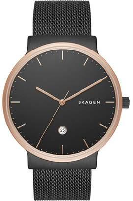 Skagen Men's 40mm Black Steel Bracelet & Case Quartz Analog Watch SKW6296