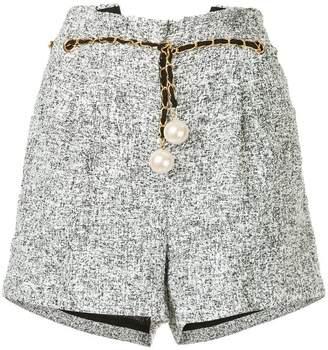 Edward Achour Paris chain and pearl belt shorts