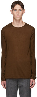 Ziggy Chen Brown Cashmere Long Sleeve T-Shirt