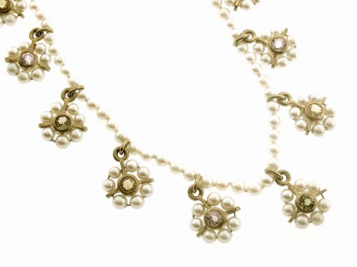 Cathy Waterman Pearl and Sapphire Flower Chain