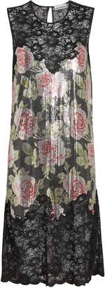 Paco Rabanne Rose Print Chainmail Dress
