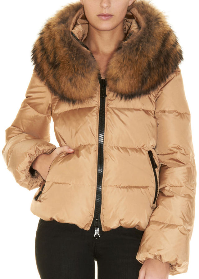 Moncler Sauvage Fur Collar Coat