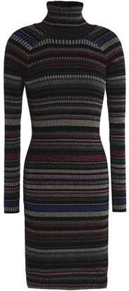Milly Metallic Striped Ribbed-knit Mini Dress